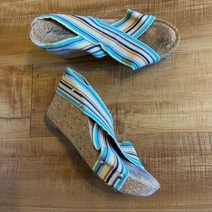 Lucky Brand Miller Cork Wedge sandals heels 8.5